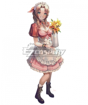 Final Fantasy VII Remake FF7R Aerith Gainsborough Pink Maid Cosplay Costume Design by@Lino