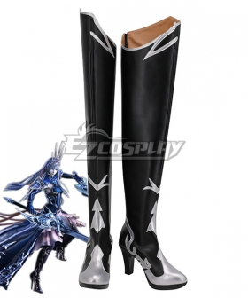 Final Fantasy XIV FF14 Heritor of Frost Shiva Black Shoes Cosplay Boots
