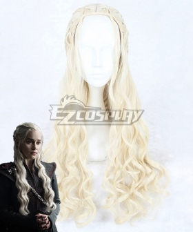 Game of Thrones Season 7 Daenerys Targaryen Light Golden Cosplay Wig