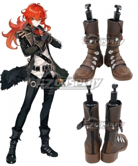 Genshin Impact Diluc Brown Shoes Cosplay Boots