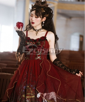 Gothic Lolita JSK Decaying Forest Dark Red Suspender Dress Helloween Jumper Skirt Lolita Dress