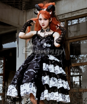 Gothic Lolita JSK the Vampire Diaries Black White Suspender Dress Helloween Jumper Skirt Lolita Dress