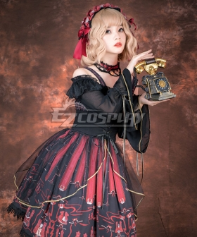 Gothic Lolita OP Chess Cat Black Wine Long Sleeve One Piece Lolita Dress
