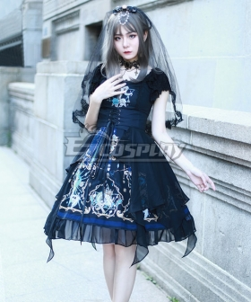 Gothic Lolita OP God Salvation Black Short Sleeve One Piece Lolita Dress