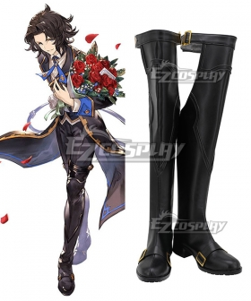 Granblue Fantasy The Dragon Knights Lancelot Black Shoes Cosplay Boots