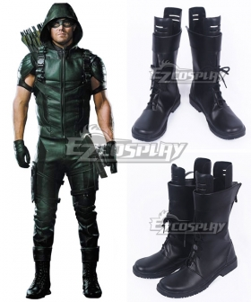 Green Arrow Oliver Queen Black Cosplay Shoes