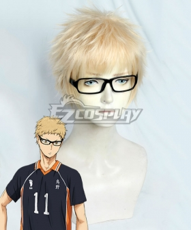 Haikyu!! Tsukishima Kei Golden Cosplay Wig - Including Glasses