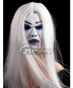 Halloween Grey Hair Bleeding Ghost Cosplay Mask