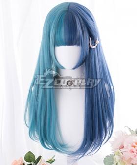 Japan Harajuku Lolita Series Blue Green Straight Cosplay Wig
