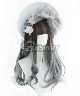 Japan Harajuku Lolita Series Blue Grey Cosplay Wig