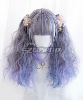 Japan Harajuku Lolita Series Gradient Blue Double Ponytail Cosplay Wig