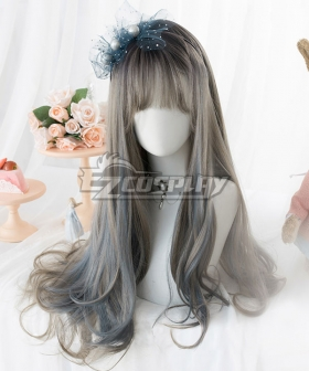 Japan Harajuku Lolita Series Grey Blue Cosplay Wig
