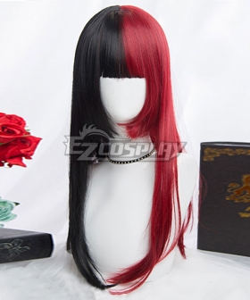 Japan Harajuku Lolita Series Halloween Red Black Long Cosplay Wig-Only Wig
