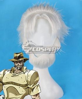 Jojo'S Bizarre Adventure: Stardust Crusaders Joseph Joestar White Cosplay Wig - Including Mustache and Wig