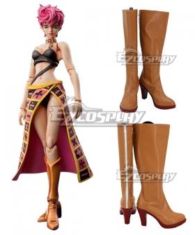 JoJo's Bizarre Adventure: Vento Aureo Golden Wind Trish Una Brown Shoes Cosplay Boots