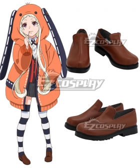 Kakegurui Compulsive Gambler Runa Yomozuki Brown Cosplay Shoes