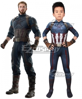 Kids Marvel Avengers 3 Steven Rogers Captain America Zentai Jumpsuit Cosplay Costume
