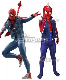 Kids Marvel PS4 Spider-Man Spiderman Spider-Punk Suit Zentai Jumpsuit Cosplay Costume