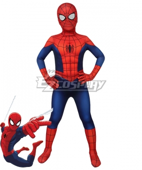 Kids Marvel Ultimate Spider-Man Season1  Peter Parker Zentai Jumpsuit Cosplay Costume