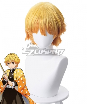Demon Slayer: Kimetsu No Yaiba Agatsuma Zenitsu Yellow Orange Cosplay Wig - 487C
