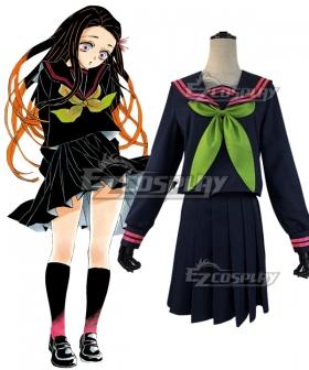 Demon Slayer: Kimetsu No Yaiba Nezuko Kamado School Uniforms Cosplay Costume