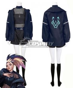 League Of Legends LOL 2020 KDA KDA THE BADDEST Akali Fullset Black Halloween Cosplay Costume