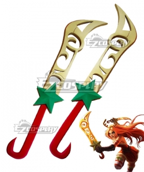 League Of Legends LOL Christmas Girl Katarina Du Couteau The Sinister Blade Two Dagger Cosplay Weapon Prop