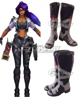 League Of Legends LOL Psyops Samira Black Shoes Cosplay Boots