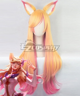 League of Legends LOL Star Guardian Ahri Graded Golden Orange Pink Cosplay Wig