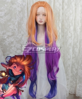 League of Legends Zoe the Aspect of Twilight Gold Brown Purple Cosplay Wig