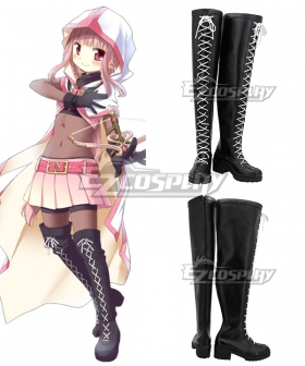 Magia Record: Puella Magi Madoka Magica Side Story Magireco Iroha Tamak Black Shoes Cosplay Shoes