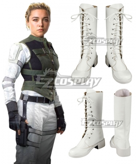 Marvel Black Widow 2021 Yelena Belova WHite Shoes Cosplay Boots