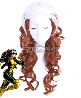 Marvel Comics X-Men Rogue Mary White Brown Cosplay Wig