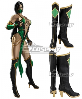 Mortal Kombat Jade Black Green Shoes Cosplay Boots