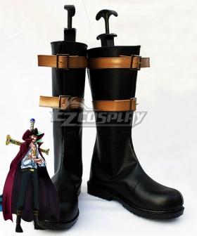 One Piece Dracule Mihawk Black Golden Shoes Cosplay Boots
