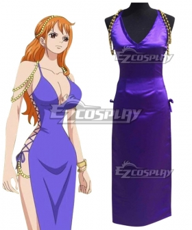 One Piece Nami Zou Island Purple Dress Cosplay Costume