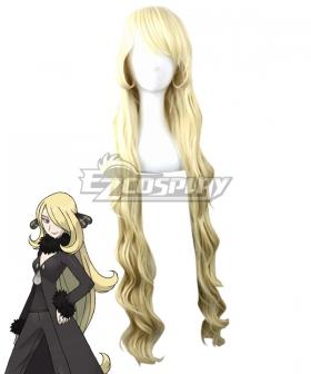 Pokemon Sun and Moon Cynthia Golden Cosplay Wig
