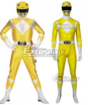 Mighty Morphin Power Rangers Yellow Ranger Zentai Jumpsuit Cosplay Costume