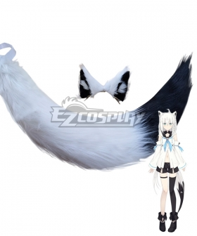 YouTuber Vtuber Shirakami Fubuki Ears and Tail Cosplay Accessory Prop