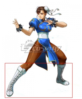 Street Fighter Chun Li White Shoes Cosplay Boots