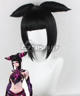 Street Fighter Juri Han Black Cosplay Wig