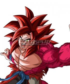 Super Dragon Ball Heroes Son Goku Kakarotto SSJ4 Xeno Limit Breaker Red Cosplay Wig