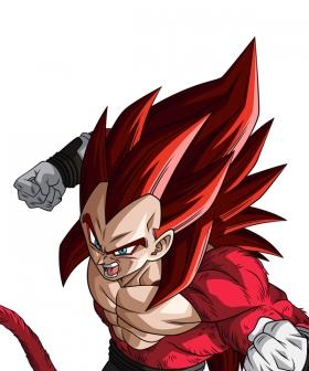 Super Dragon Ball Heroes Vegeta SSJ4 Xeno Limit Breaker Red Cosplay Wig