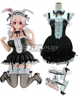 SUPERSONICO Super Sonico Bunny Figure Black Wihte Maid Cosplay Costume