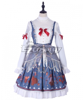Sweet Lolita JSK Christmas From Afar  Blue Suspender Dress Jumper Skirt Lolita Dress