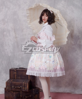 Sweet Lolita JSK Magic Tea Party Pink Suspender Dress Jumper Skirt Lolita Dress