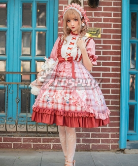 Sweet Lolita OP Afternoon Cat Pink Medium Sleeve One Piece Lolita Dress