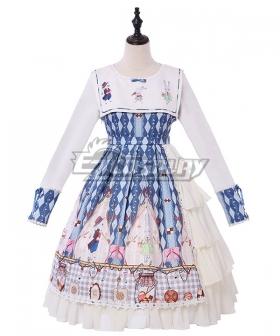 Sweet Lolita OP Cookie Bunny Diamond Pattern Blue Long Sleeve One Piece Lolita Dress