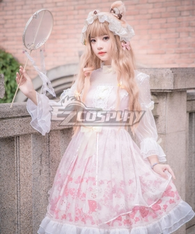 Sweet Lolita OP Cherry Blossom Sakura Festival Pink Long Sleeve One Piece Lolita Dress