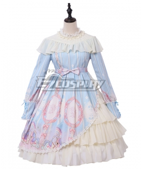 Sweet Lolita OP Unicorn Stars Light Blue Pink Long Sleeve One Piece Lolita Dress